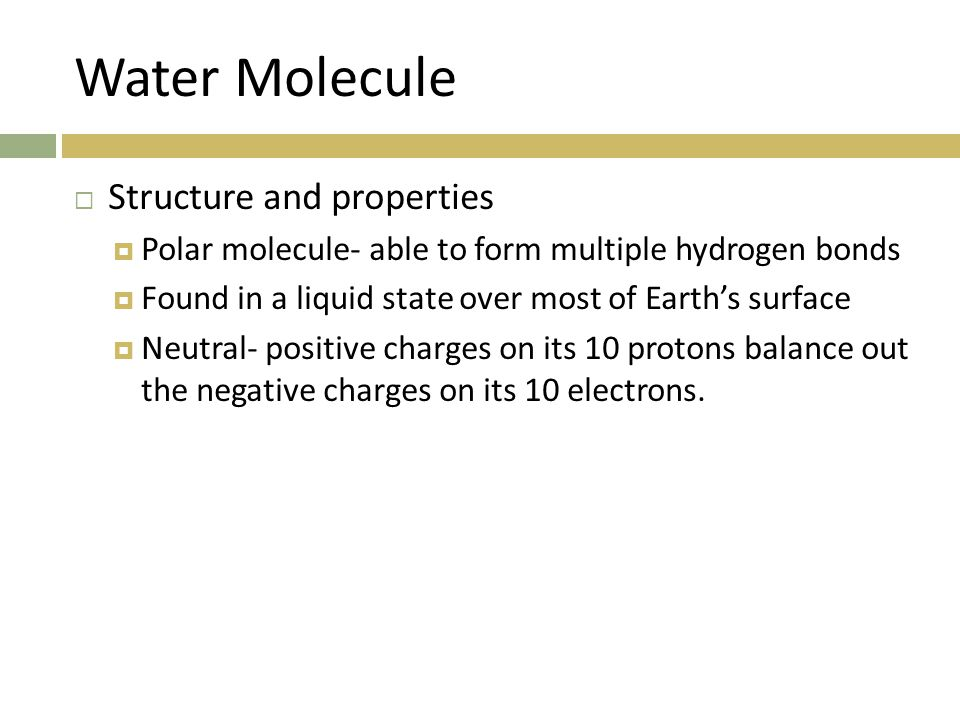 Water Molecule Structure and properties