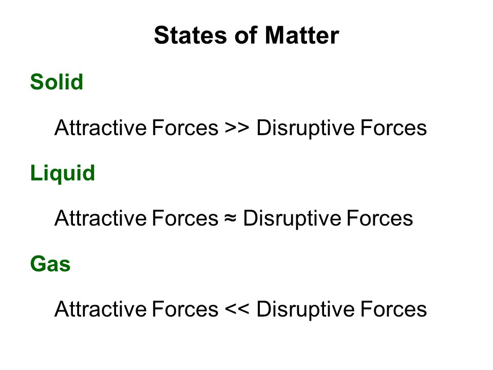 States of Matter Solid Attractive Forces >> Disruptive Forces