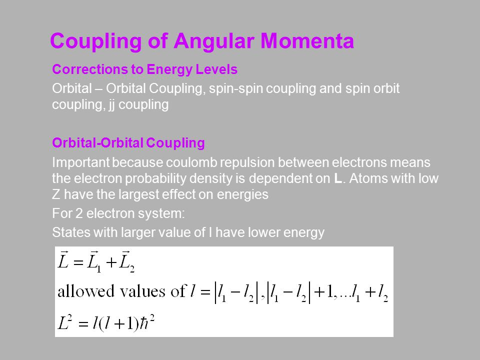 Coupling of Angular Momenta