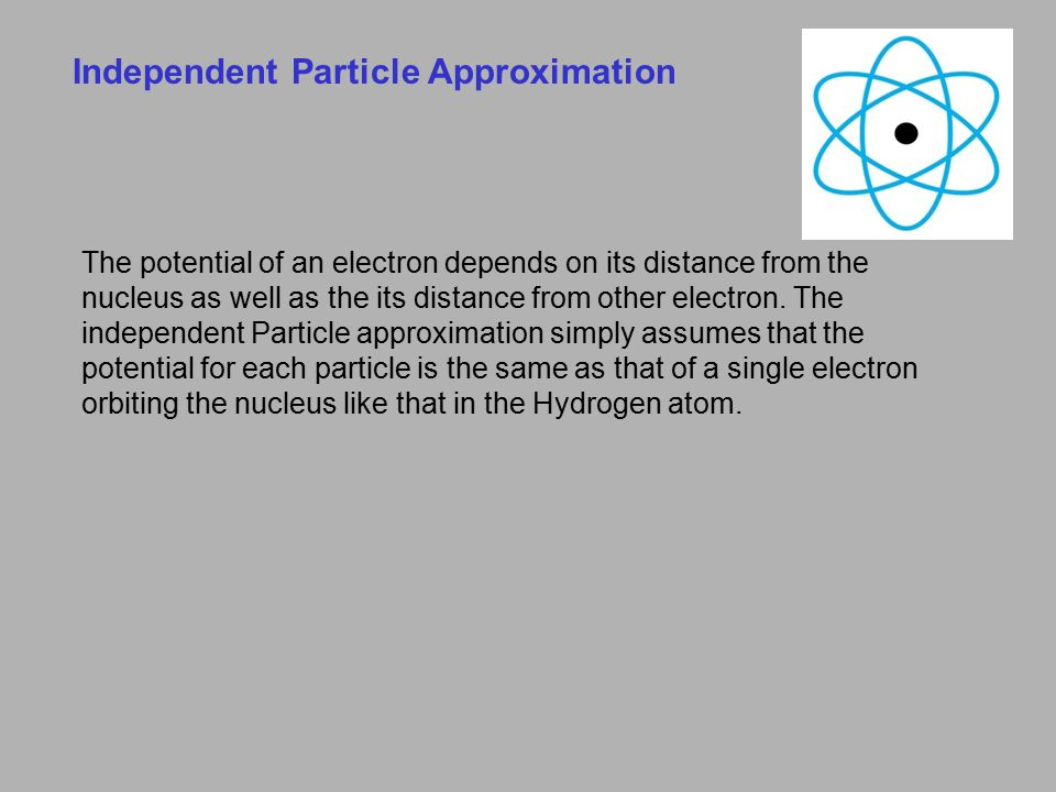Independent Particle Approximation