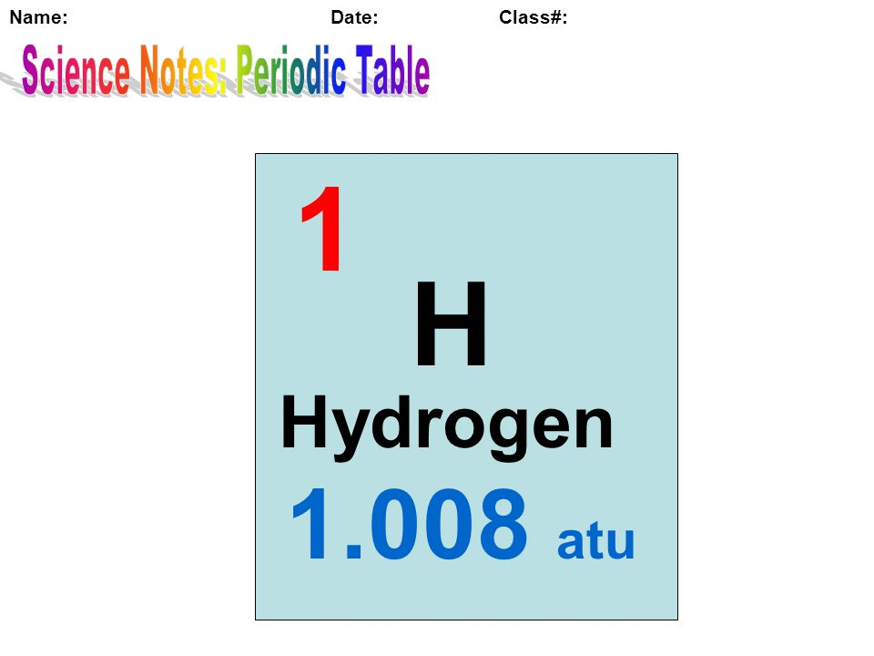 7 Science Notes: Periodic Table