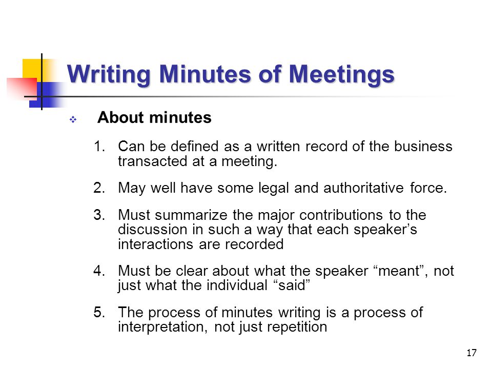 writing minutes for a meeting