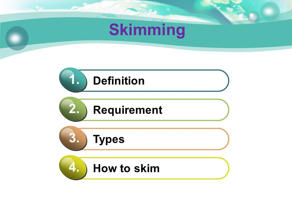 Skimming Definition 1. Requirement 2. Types 3. How to skim 4.