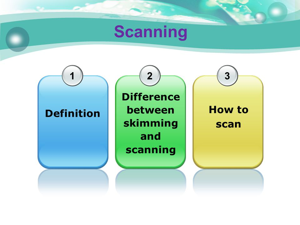 Difference between skimming and scanning