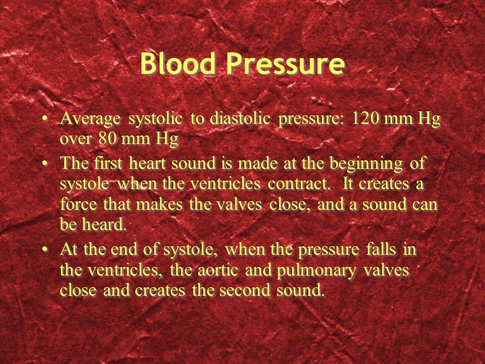 Blood Pressure Average systolic to diastolic pressure: 120 mm Hg over 80 mm Hg.