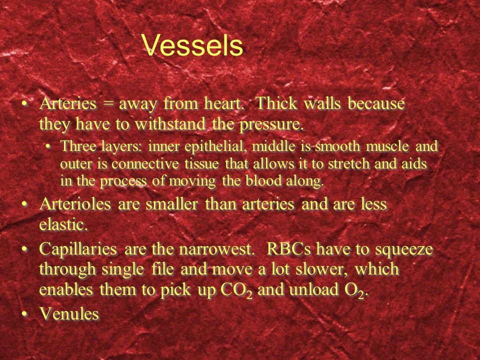 Vessels Arteries = away from heart. Thick walls because they have to withstand the pressure.