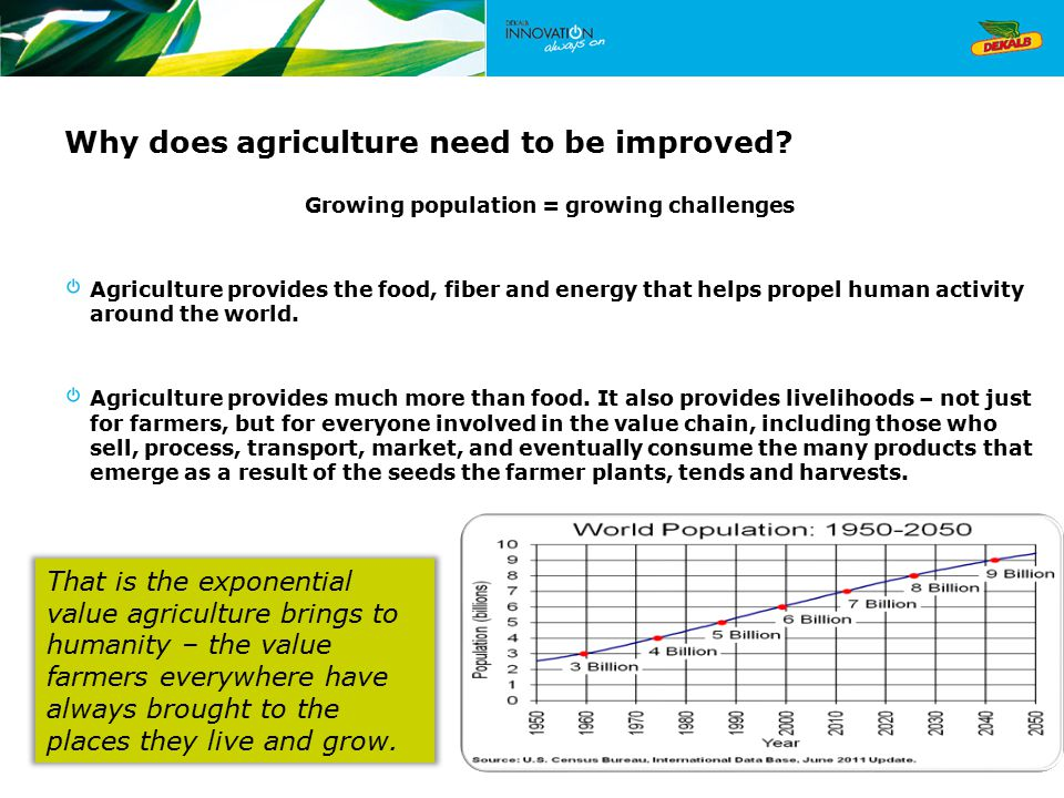 Why does agriculture need to be improved