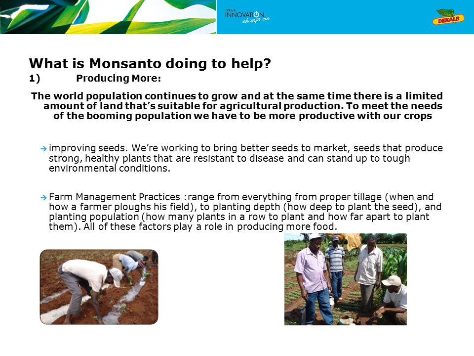 What is Monsanto doing to help