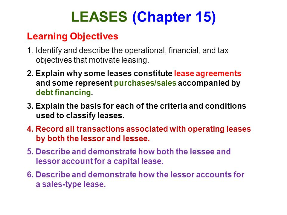 Leases Chapter 15 Learning Objectives Ppt Download