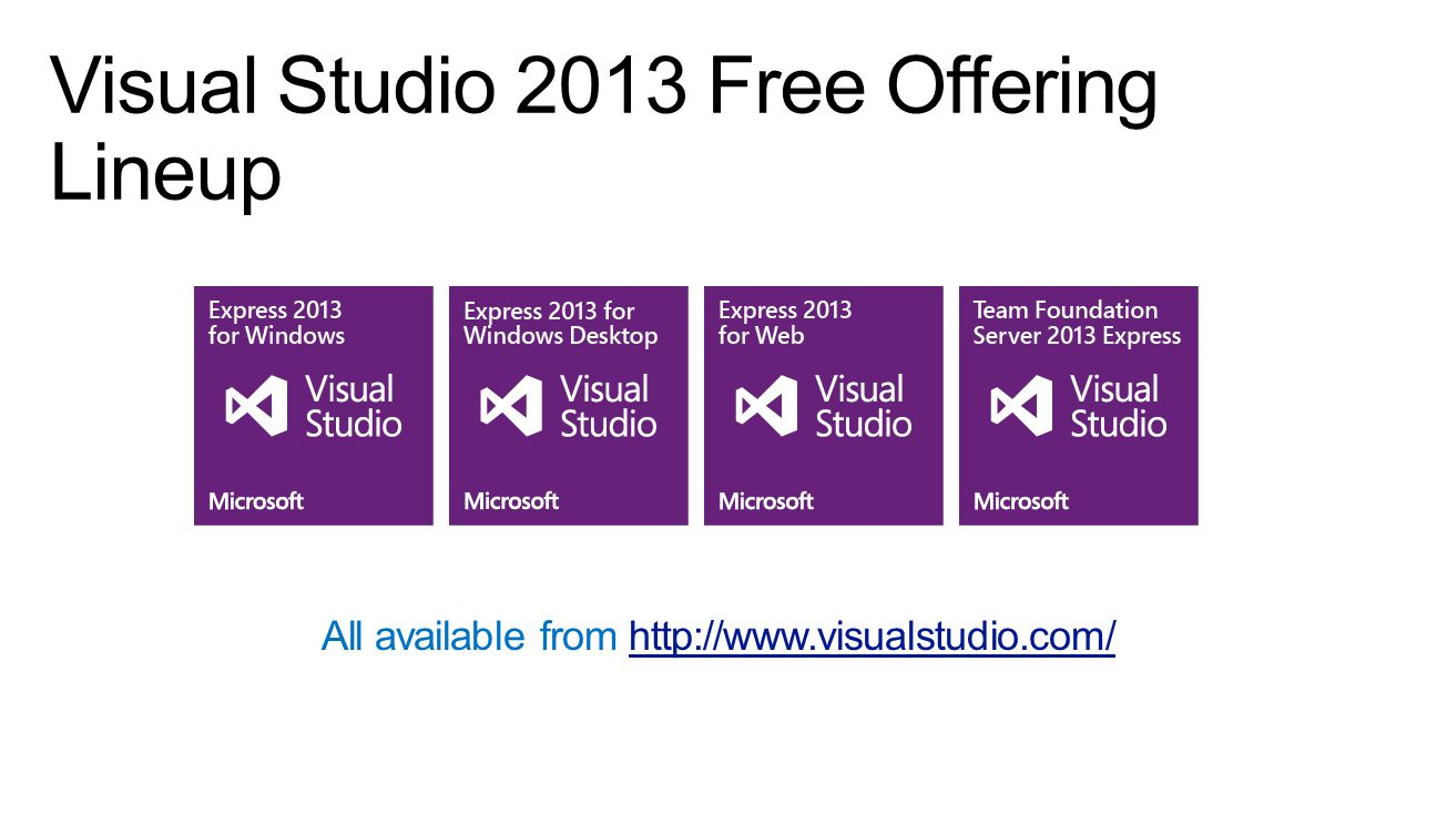 Visual Studio 2013 Free Offering Lineup