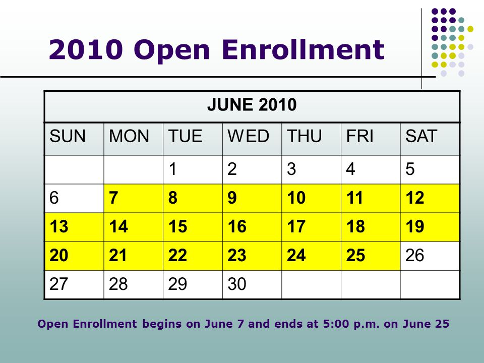 2010 Open Enrollment JUNE 2010 SUN MON TUE WED THU FRI SAT