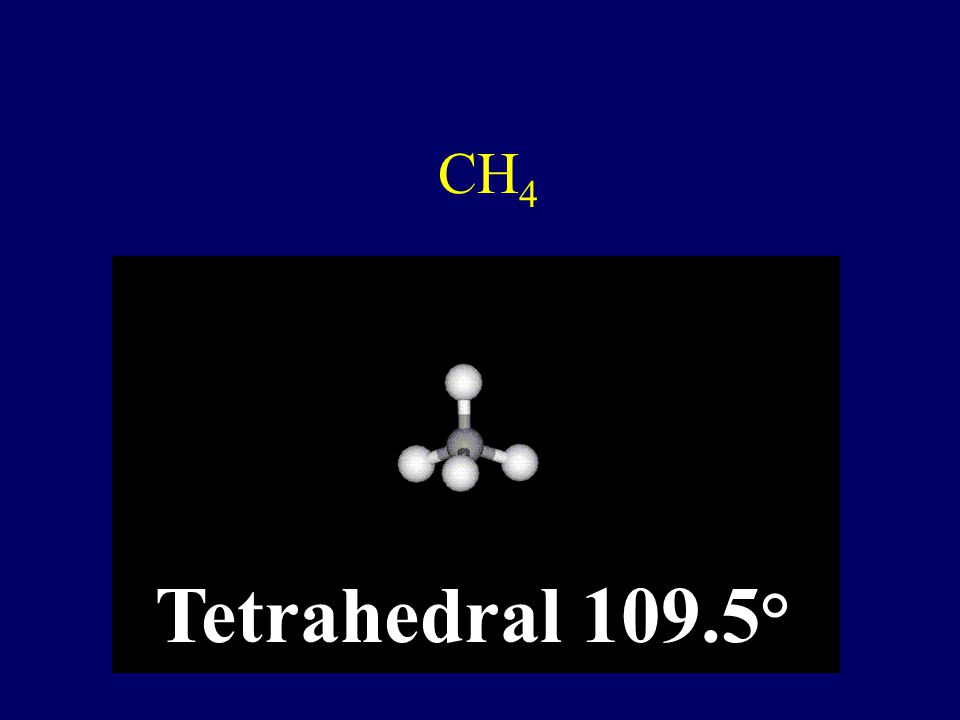 CH4 Tetrahedral 109.5°
