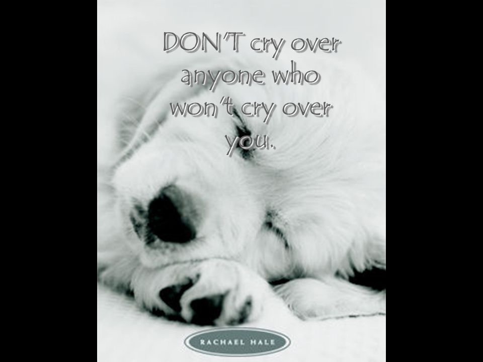 DON T cry over anyone who won t cry over you.