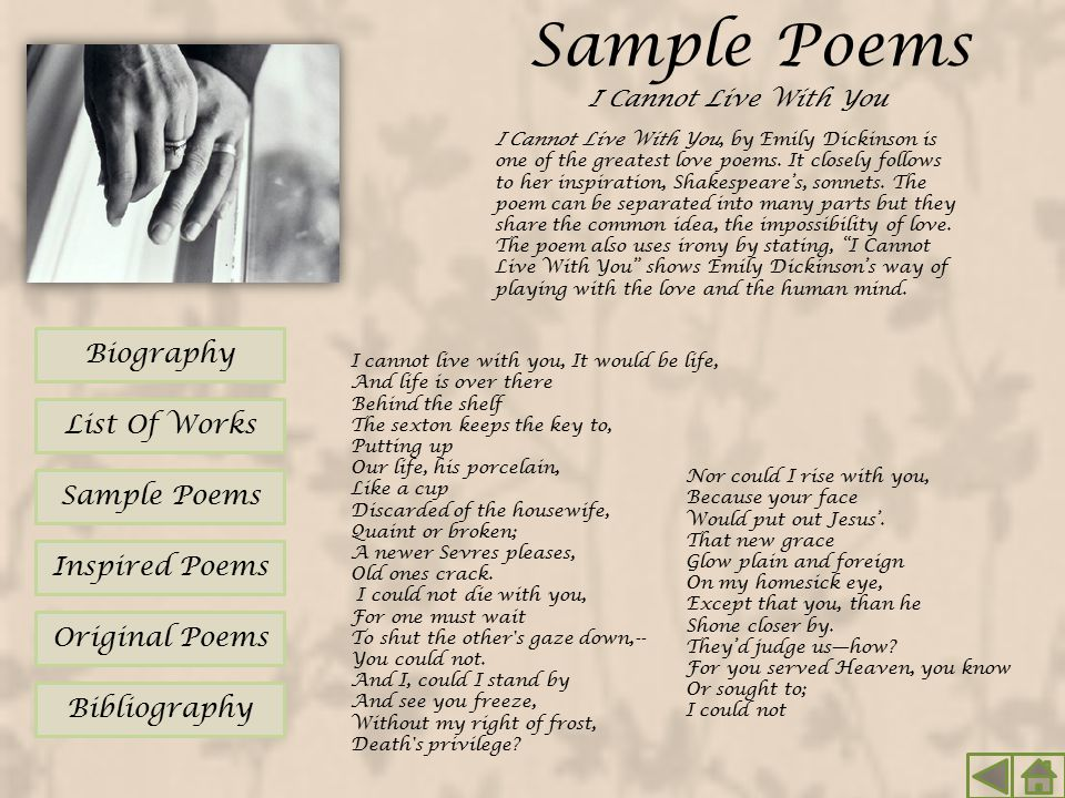 analysis of emily dickinsons poem because i Emily dickinson's poem because i could not stop for death uniquely describes the passing between life and death in a tone that indicates the seriousness of a ride through the country emily, who was genuinely religious, believed that church was not a necessity in the search for divinity.