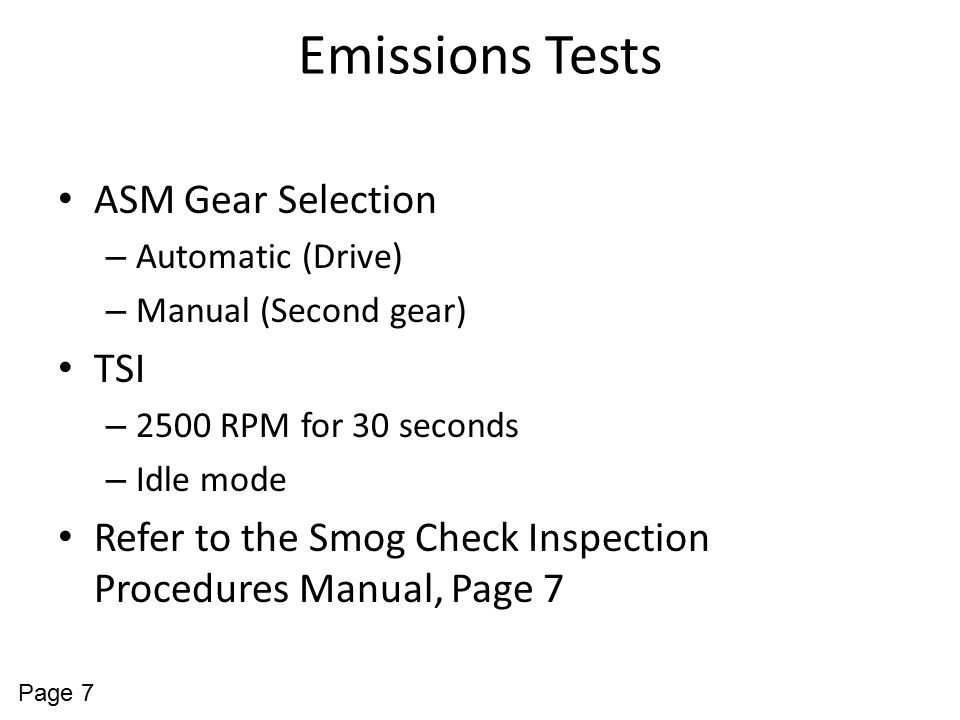 Emissions Tests ASM Gear Selection TSI