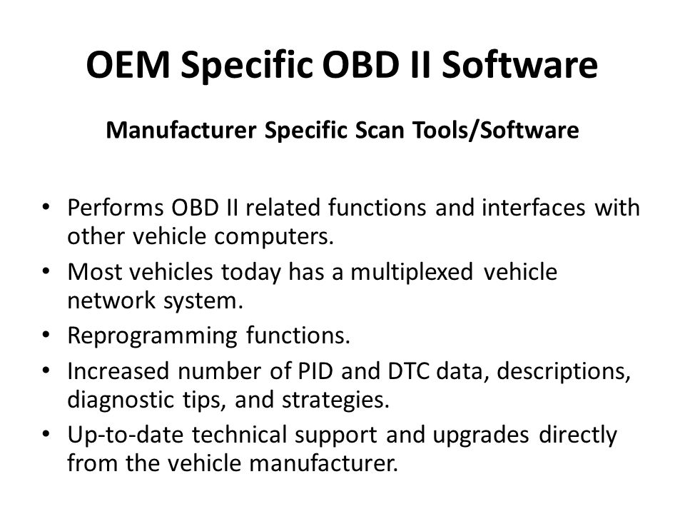 OEM Specific OBD II Software