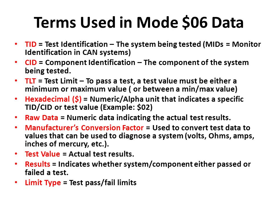 Terms Used in Mode $06 Data