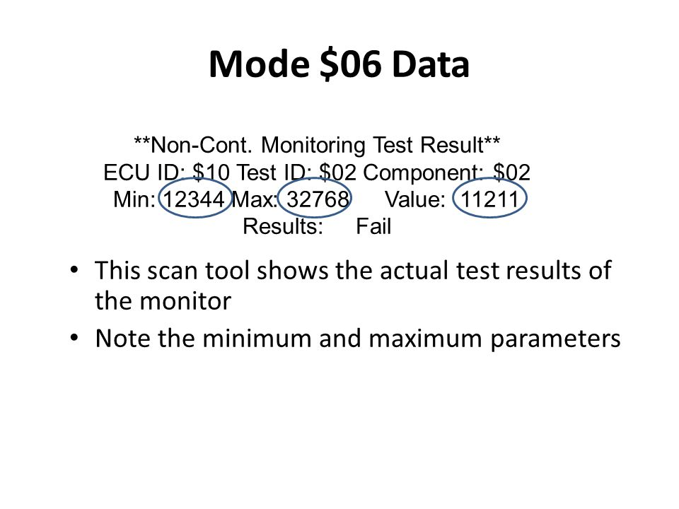 Mode $06 Data **Non-Cont. Monitoring Test Result** ECU ID: $10 Test ID: $02 Component: $02. Min: 12344 Max: 32768 Value: 11211.