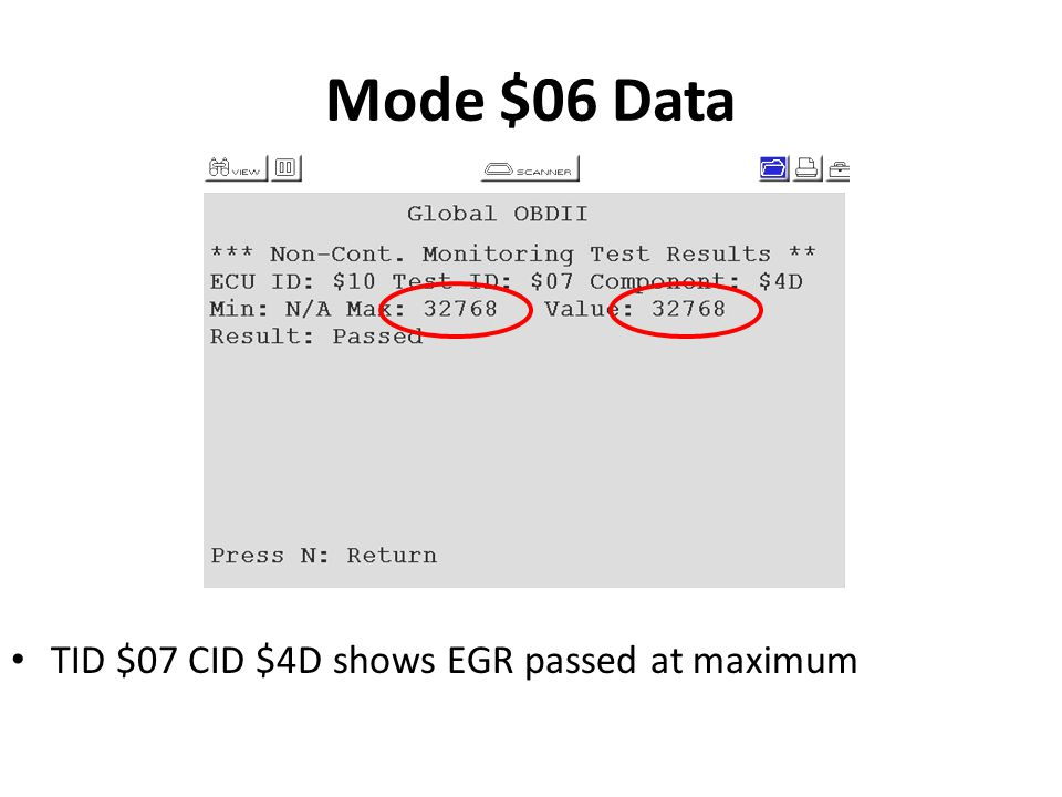 Mode $06 Data See page 63 TID $07 CID $4D shows EGR passed at maximum