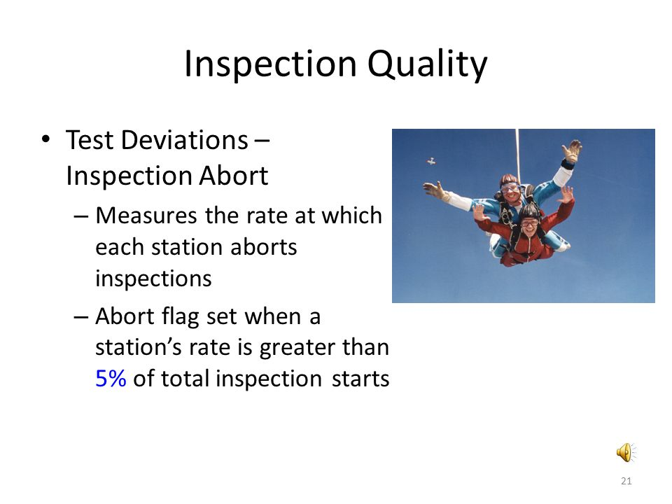 Inspection Quality Test Deviations – Inspection Abort