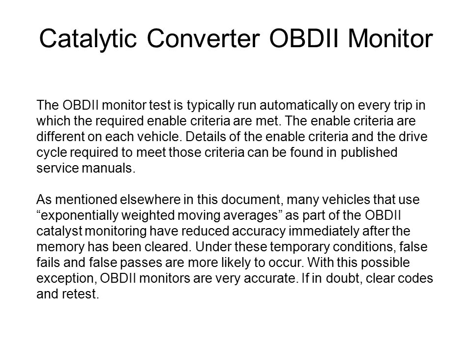 Catalytic Converter OBDII Monitor