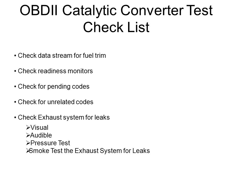OBDII Catalytic Converter Test Check List