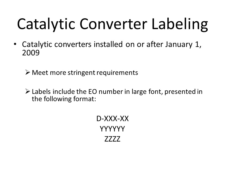 Catalytic Converter Labeling