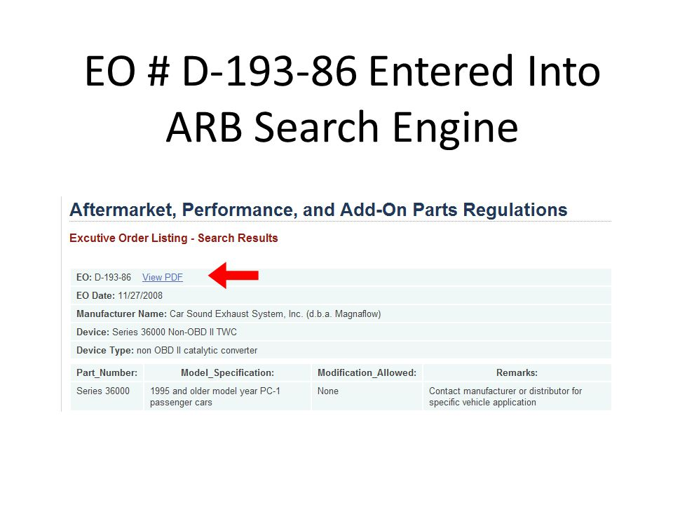 EO # D-193-86 Entered Into ARB Search Engine