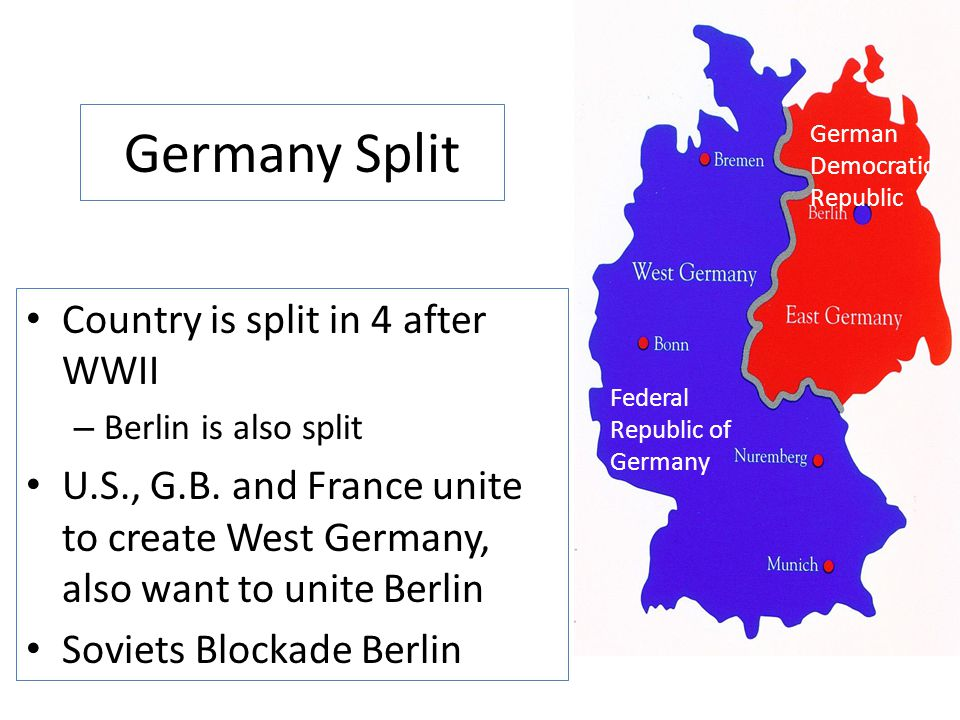 Germany Split Country is split in 4 after WWII
