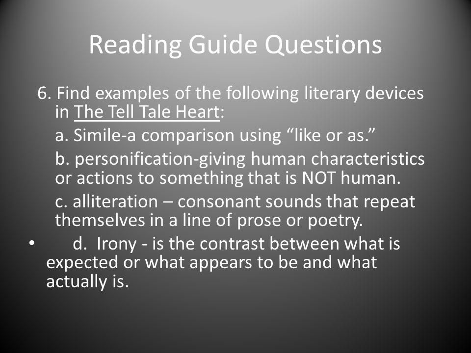 "The tell tale heart"" figures of speech.  figurative language."