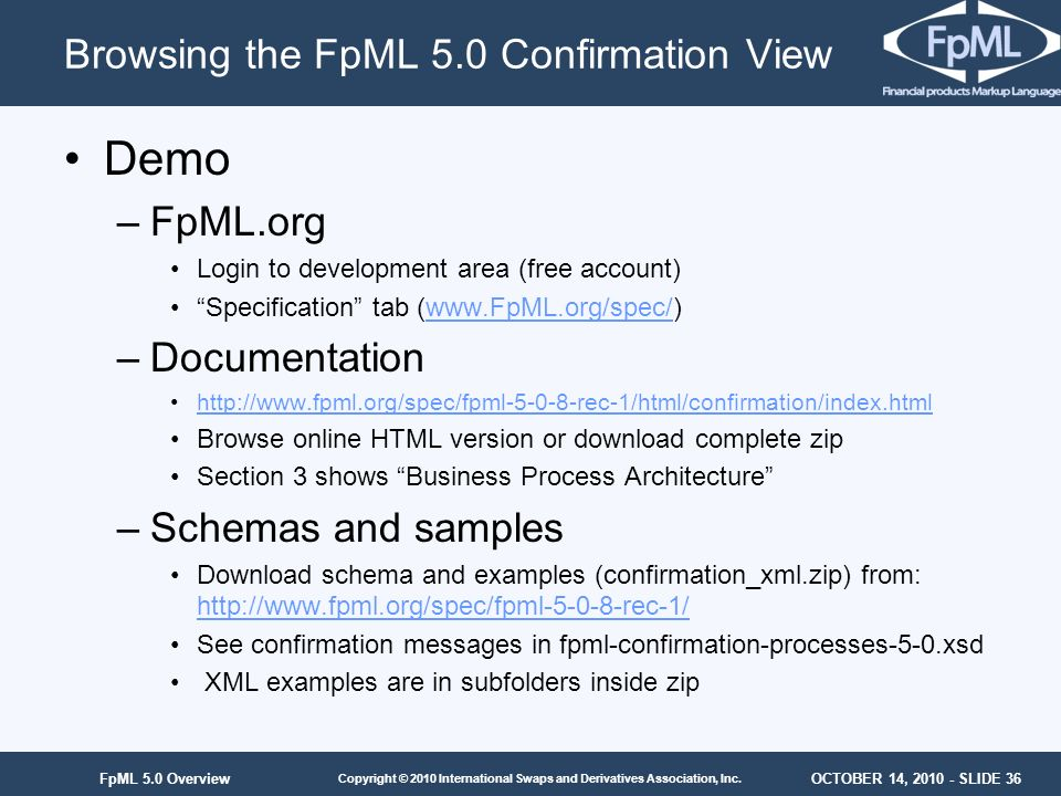 Browsing the FpML 5.0 Confirmation View