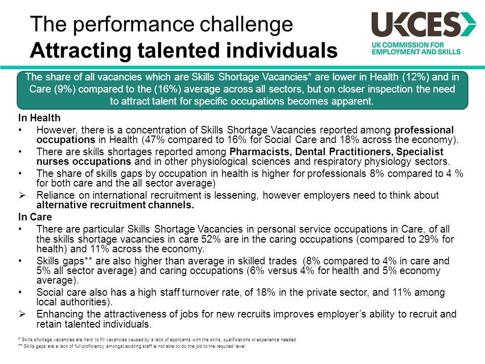 The performance challenge Attracting talented individuals