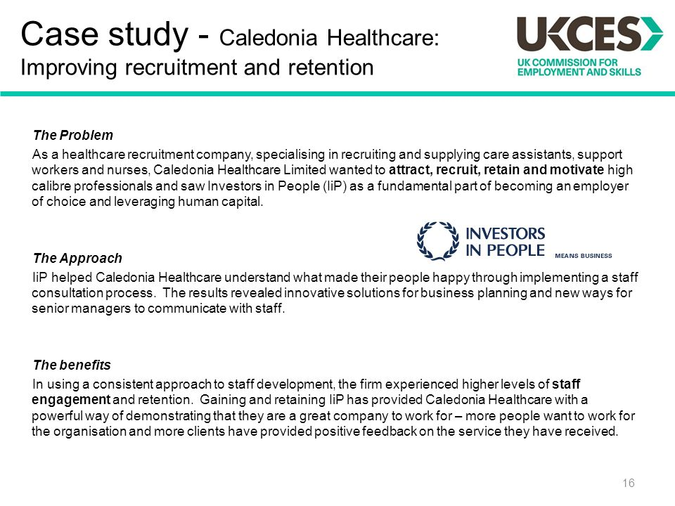 Case study - Caledonia Healthcare: Improving recruitment and retention