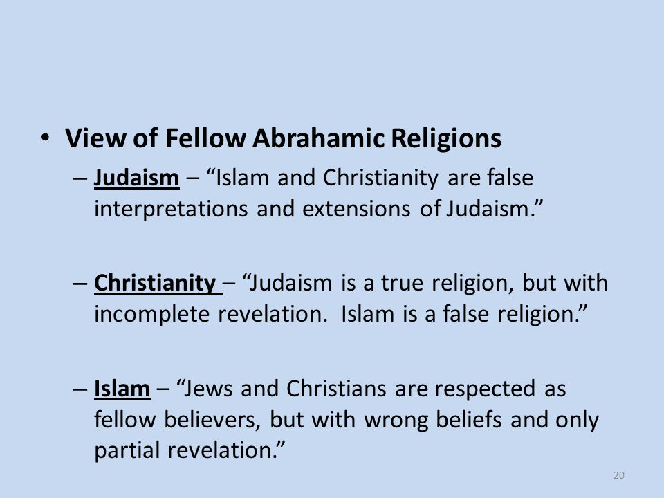 View of Fellow Abrahamic Religions
