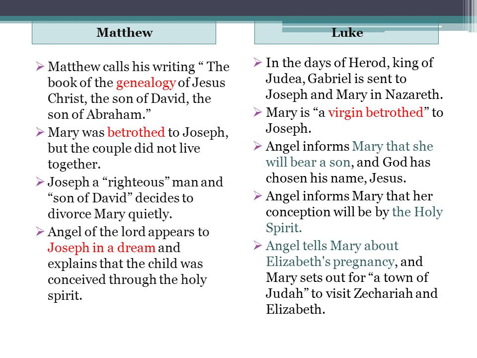 difference between matthew and luke infancy narratives