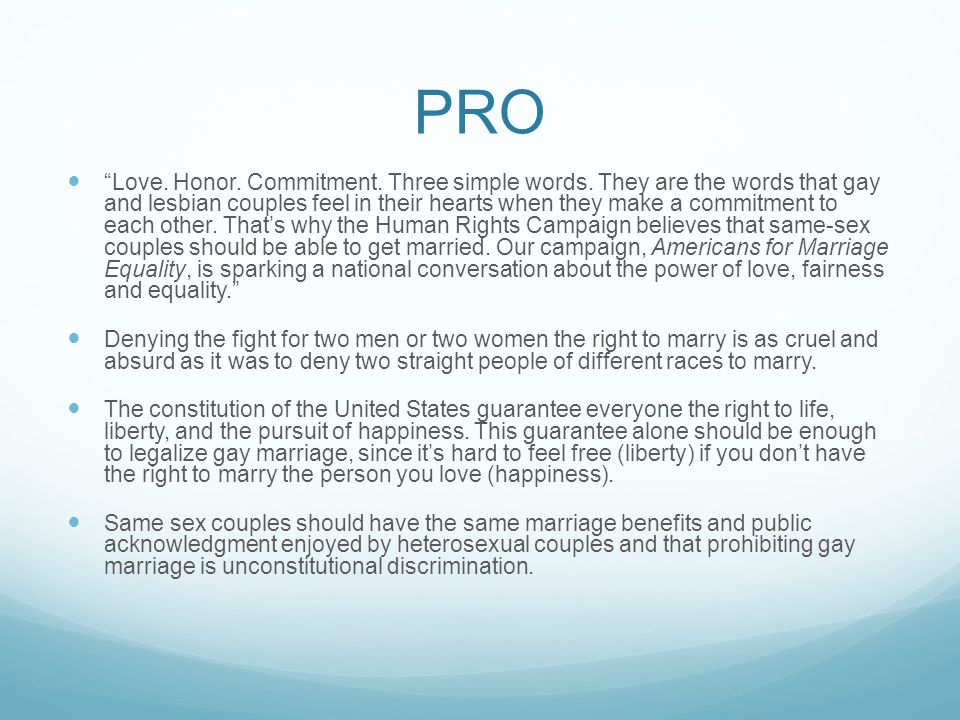 Legalization Of Gay Marriage Pros And Cons