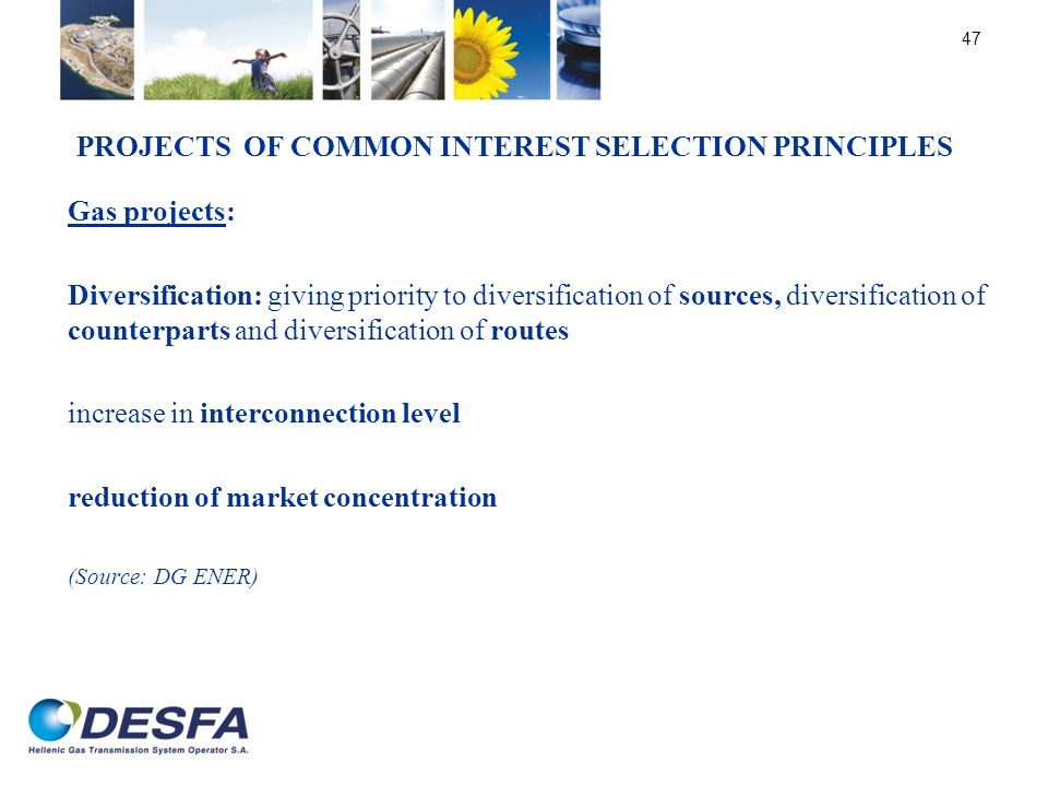 Projects of Common Interest Selection principles