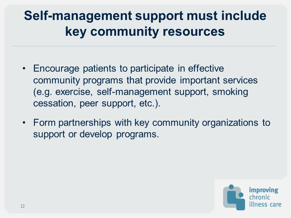 Self-management support must include key community resources