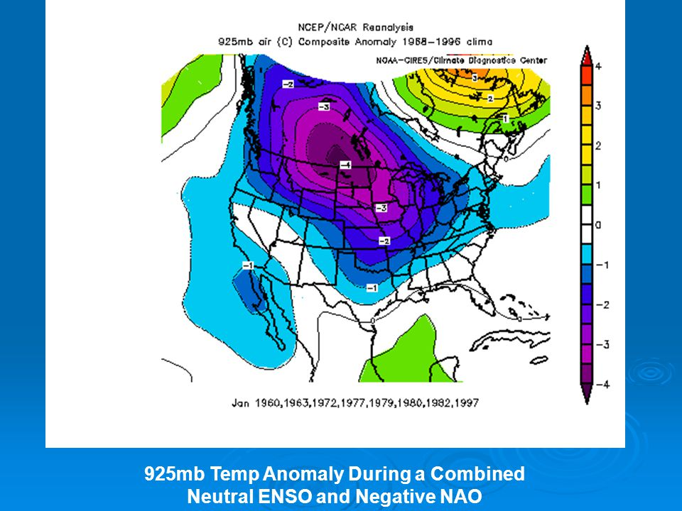 925mb Temp Anomaly During a Combined Neutral ENSO and Negative NAO