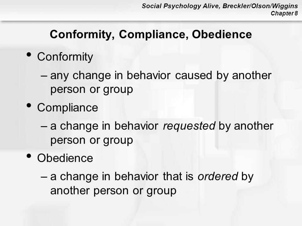 psychology conformity essays Conformity and obedience the desire to be accepted and belong to a group is an undeniable human need but how does this need affect an individual social psychologists have conducted numerous experiments and concluded that, through various forms of social influence, groups can change their members' thoughts, feelings, and behavior.