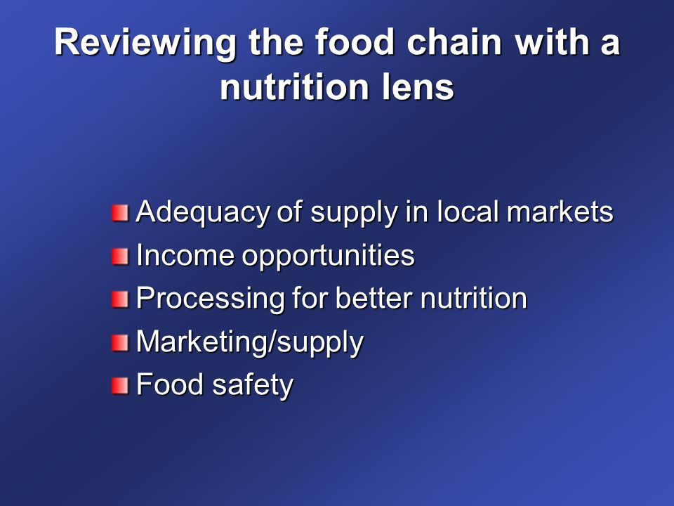 Reviewing the food chain with a nutrition lens