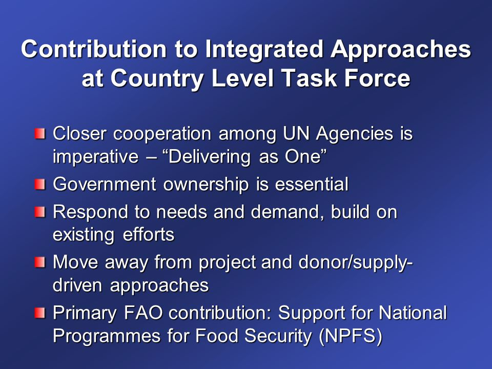 Contribution to Integrated Approaches at Country Level Task Force