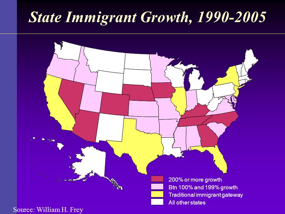 State Immigrant Growth, 1990-2005