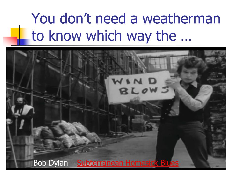 You don't need a weatherman to know which way the …