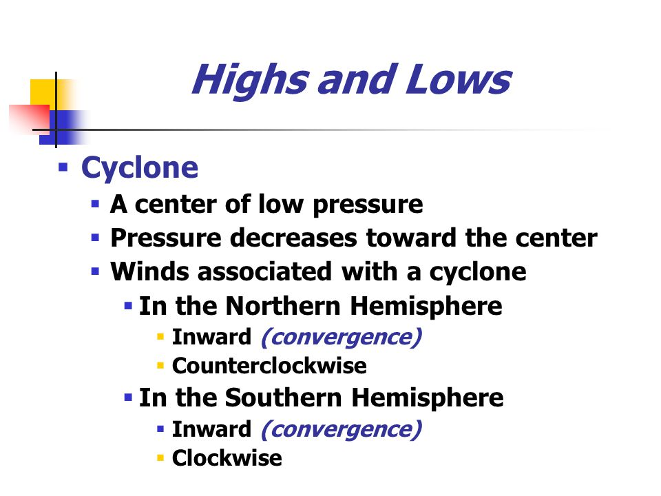 Highs and Lows Cyclone A center of low pressure
