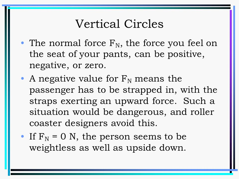 Vertical Circles The normal force FN, the force you feel on the seat of your pants, can be positive, negative, or zero.