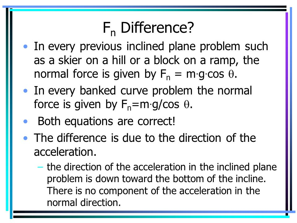 Fn Difference In every previous inclined plane problem such as a skier on a hill or a block on a ramp, the normal force is given by Fn = m·g·cos .
