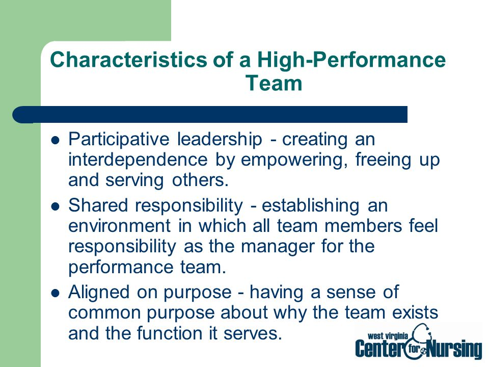Characteristics of a High-Performance Team