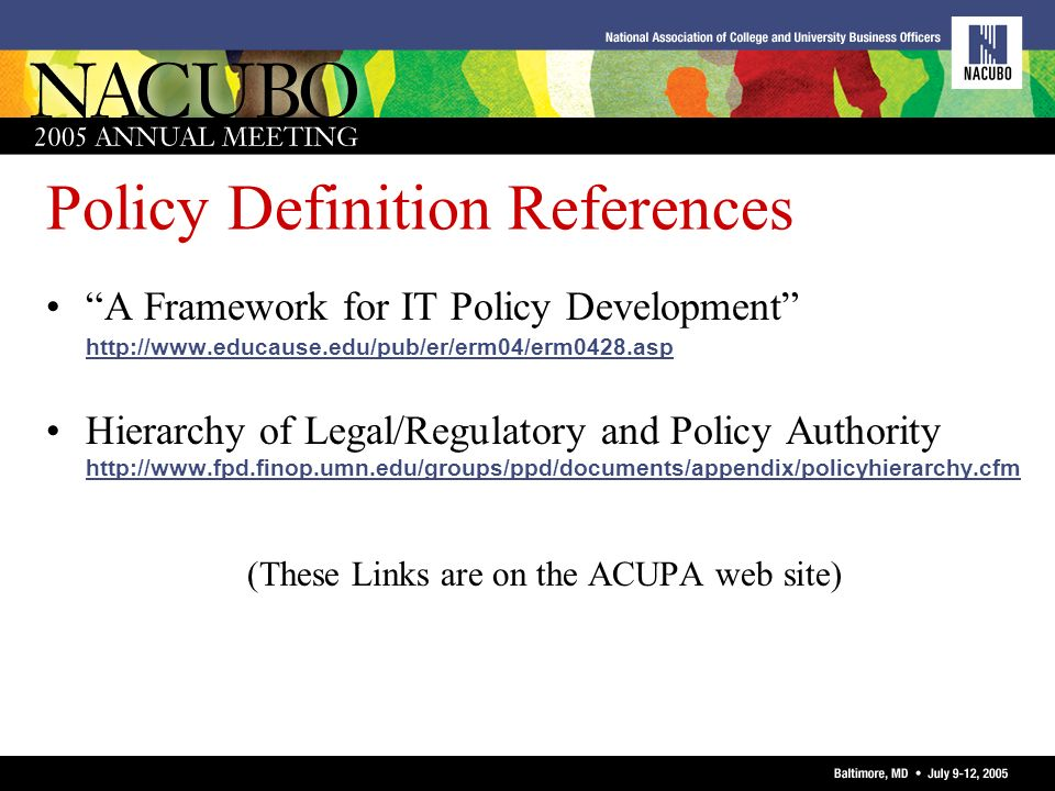 Policy Definition References