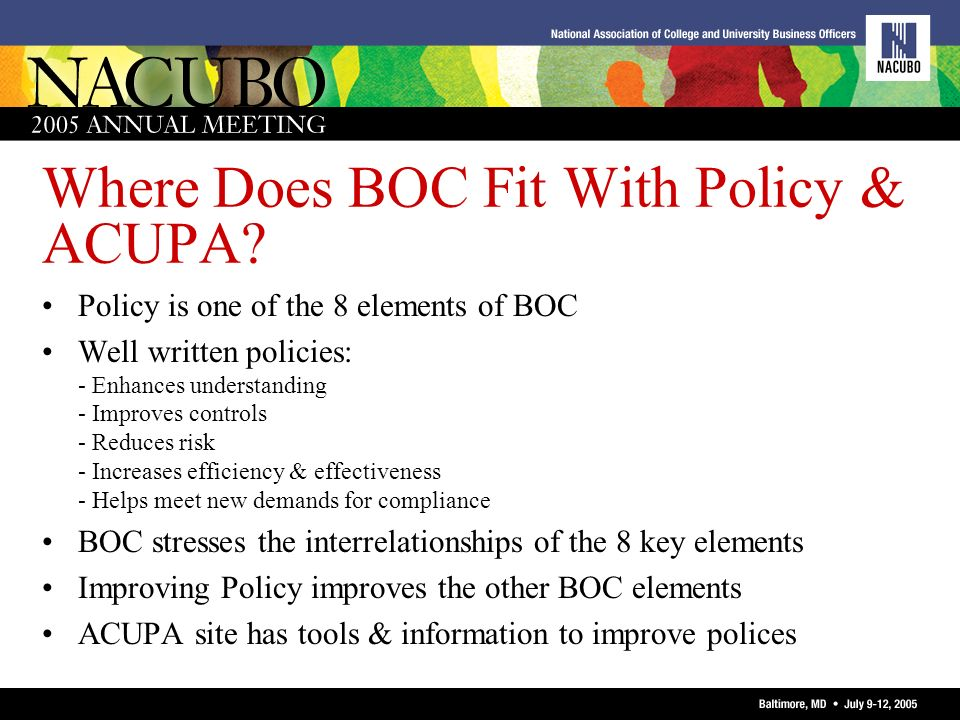 Where Does BOC Fit With Policy & ACUPA